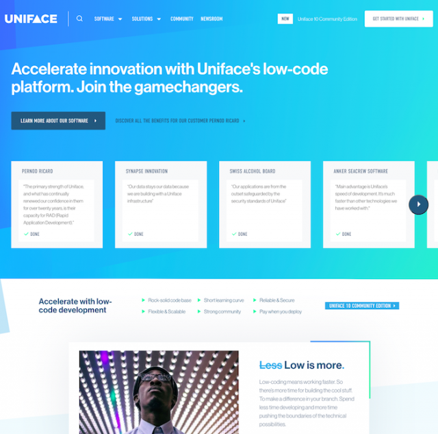 Uniface website homepage